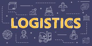 Logistic outline icon banner cover for worldwide logistics vector illustration