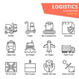 Logistic outline icon set for worldwide logistics stock photo