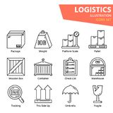 Logistic outline icon set for worldwide logistics royalty free stock images