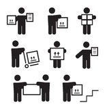 Logistic people pictograms. Logistic worker, man delivery Stock Photo