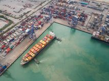 Logistic port, vessel transportation and import Royalty Free Stock Photography