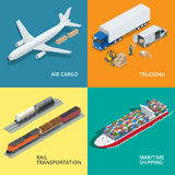 Logistic realistic icons set of air cargo, trucking, rail transportation. Maritime shipping.  Delivery and logistic. Vector isometric illustration Stock Photo