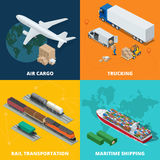 Logistic realistic icons set of air cargo, trucking, rail transportation, meritime shipping. On-time delivery. Delivery Royalty Free Stock Photos