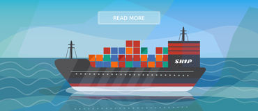 Logistic routes cargo ship banner. Logisticscargo ship banner for industry, web and print. Flat style vector illustration of a cargo ship Stock Photos