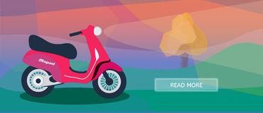 Logistic routes courier moped banner. Logistics scooter banner for industry, web and print. Flat style vector illustration of a courier moped Stock Image