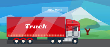Logistic routes lorry banner Stock Photos