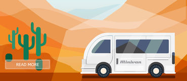 Logistic routes minivan banner. Logistics minivan banner for industry, web and print. Flat style vector illustration of a minivan in desert Stock Photography