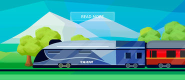 Logistic routes train banner. Logistics train banner for industry, web and print. Flat style vector illustration of a train with railway carriage Royalty Free Stock Photos