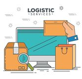 Logistic services with computer Royalty Free Stock Photography