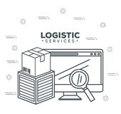 Logistic services with computer Stock Photo