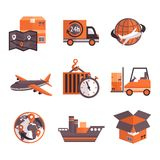 Logistic Services Icons Set Stock Photo