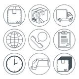Logistic services set icons Royalty Free Stock Images