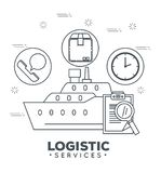 Logistic services with ship cargo Stock Photo