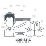Logistic services with support agent and computer Stock Image