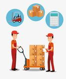 Logistic services with team delivery workers royalty free illustration