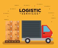 Logistic services with truck vector illustration