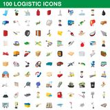 100 logistic set, cartoon style. 100 logistic set in cartoon style for any design illustration vector illustration