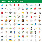 100 logistic set, cartoon style. 100 logistic set in cartoon style for any design vector illustration Royalty Free Stock Photo
