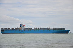 Logistic Ship. Since the end of the age of sail[vague] a ship has been any large buoyant watercraft. Ships are generally distinguished from boats based on size royalty free stock photography