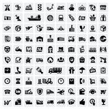 Logistic and shipping icons. Vector black logistic and shipping icon set Stock Photos
