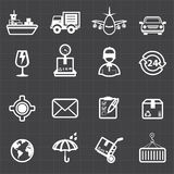 Logistic shipping transportation icons and black background Royalty Free Stock Image