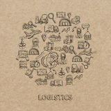 Logistic Sketch Icons stock illustration