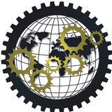 Logistic supply chain gear network concept with globe Royalty Free Stock Images