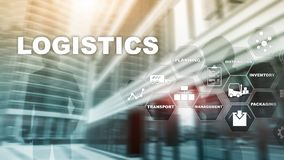 Logistic and transport concept. Businessman shows logistics diagram. Online goods orders. Goods delivery. Mixed media. Logistic and transport concept royalty free stock image