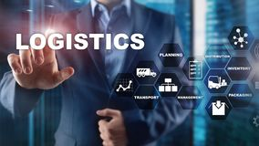 Logistic and transport concept. Businessman shows logistics diagram. Online goods orders. Goods delivery. Mixed media. Logistic and transport concept royalty free stock images