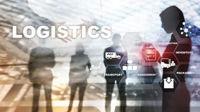 Logistic and transport concept. Businessman shows logistics diagram. Online goods orders. Goods delivery. Mixed media. Logistic and transport concept stock photos