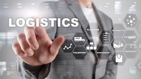 Logistic and transport concept. Businessman shows logistics diagram. Online goods orders. Goods delivery. Mixed media. royalty free stock photos