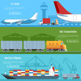 Logistic And Transportation Banners Set Stock Photography