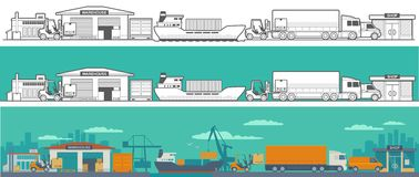 Logistic - warehouse, ship, truck, car. Logistic concept flat banner production process from factory to the shop.  Wide panoramic vector illustration for Stock Photography
