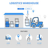 Logistic warehouse storage concept flat line art vector icons Stock Images