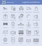 Logistica ed icone di consegna Fotografia Stock Libera da Diritti
