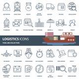 Logistica, trasporto del prodotto ed insieme dell'icona di consegna Insieme dell'icona di web del profilo illustrazione vettoriale
