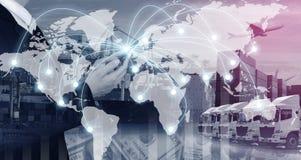 Logistica, trasporto ed affare di connettività di industria e di tecnologia fotografia stock