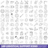 100 logistical support icons set, outline style Royalty Free Stock Images
