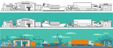 Logistico - magazzino, nave, camion, automobile Fotografia Stock
