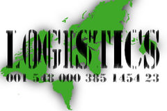 Logistics. Illustration of the bar coded word logistics over earth map Stock Image