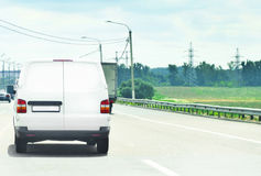 Logistics. New commercial car in highway stock images