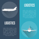 Logistics banner set with airplane Stock Images
