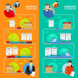 Logistics banners. Vector logistics and transportation banners in flat style royalty free illustration