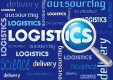 Logistics bb. Blue background on the logistics of words and fonts stock illustration