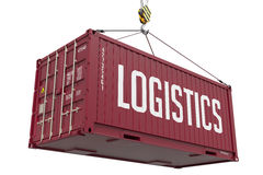 Logistics - burgundy Hanging Cargo Container. Royalty Free Stock Images
