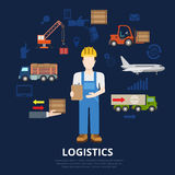 Logistics business flat vector concept delivery shipment Stock Photo