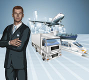 Logistics business man concept background Royalty Free Stock Photography