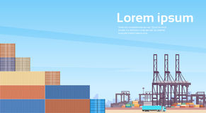 Logistics Cargo Container Industrial Sea Port Freight Warehouse Terminal. Ship Crane Flat Vector Illustration Royalty Free Stock Photos