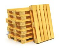 Stack of wooden shipping pallets. Logistics, cargo transportation and freight shipment concept: stack of wooden shipping pallets isolated on white background Stock Images