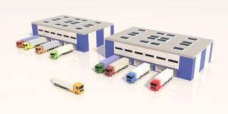 Logistics center with trucks. 3D render. Job Vector Illustration